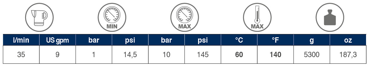 Backflow Preventer Kit BA10 tabelle 01